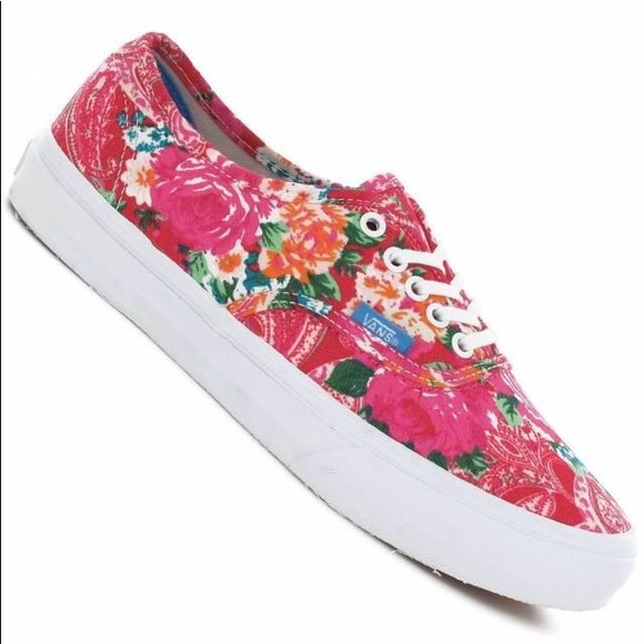 83a243ef72 Vans Authentic Slim Multi Floral Pink White Shoes.  M 5a4f71eed39ca2657a003d39